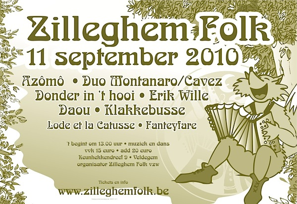 Affiche Zilleghem Folk van 11 september 2010