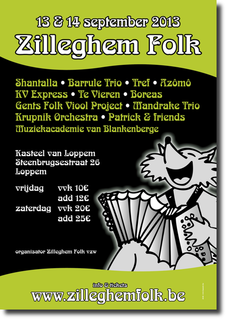 Affiche Zilleghem Folk van 13 en 14 september 2013