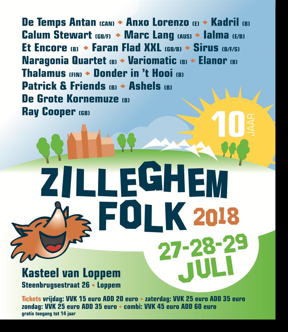 Affiche van de tiende jubileumeditie van Zilleghem Folk 2018